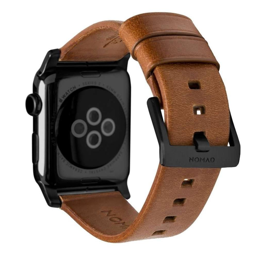 Horween Leather Strap for Apple Watch 38/40mm - Modern Build, Black Hardware