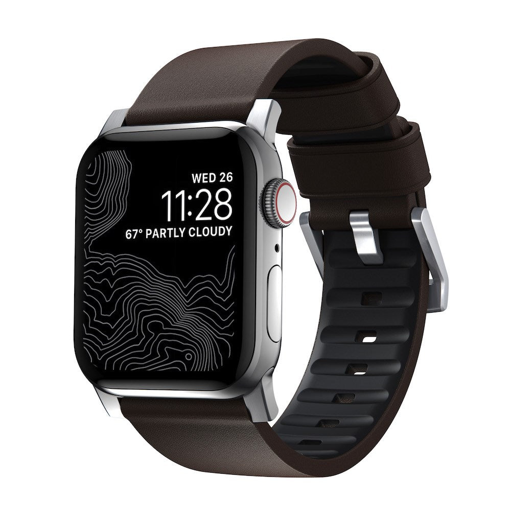 Active Strap Pro - Apple Watch 44/42mm - Brown - Silver Hardware