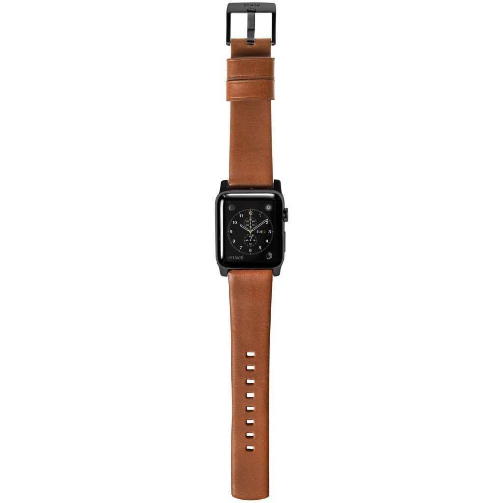 Horween Leather Strap for Apple Watch 42/44mm - Modern Build, Black Hardware