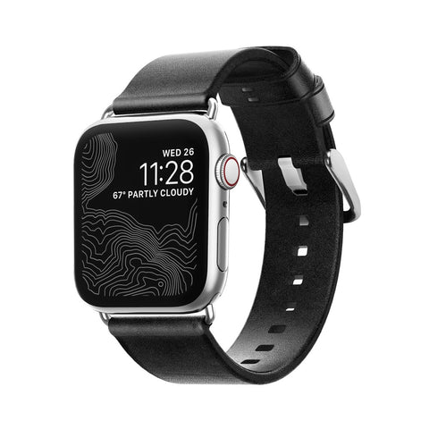 Modern Strap for Apple Watch 40mm, Black leather, Silver Hardware