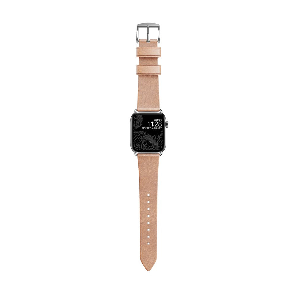 Natural Modern Strap for Apple Watch 40mm, Silver Hardware