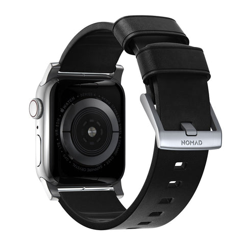 Modern Strap - Active - Apple Watch 44/42mm - Black - Silver Hardware