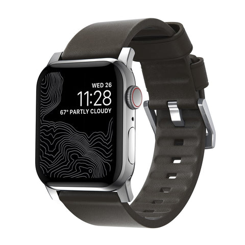 Modern Strap - Active - Apple Watch 44/42mm - Brown - Silver Hardware