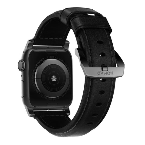Traditional Strap for Apple Watch 42/44mm - Black Leather Black Hardware