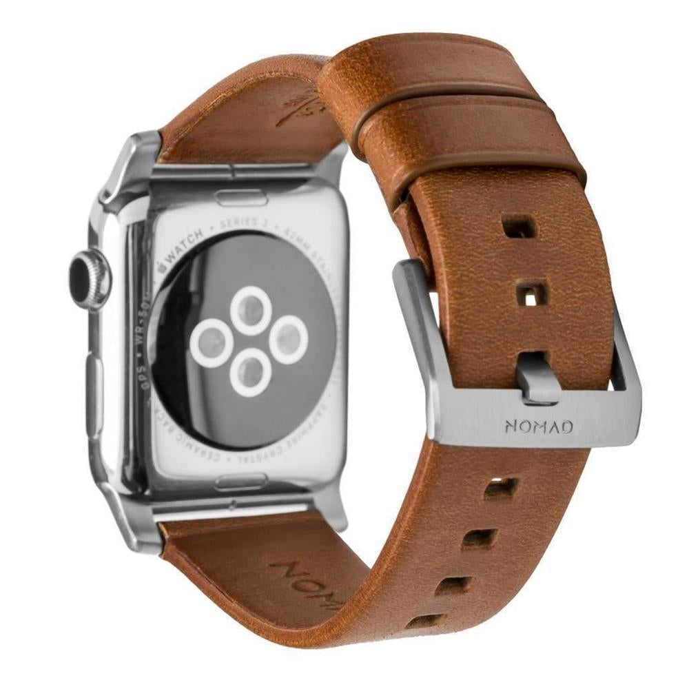 Horween Leather Strap for Apple Watch 42/44mm - Modern Build, Silver Hardware