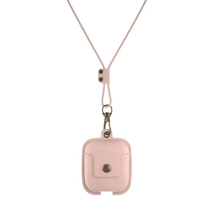 AirCase - AirPods Leather Necklace Case - Rose