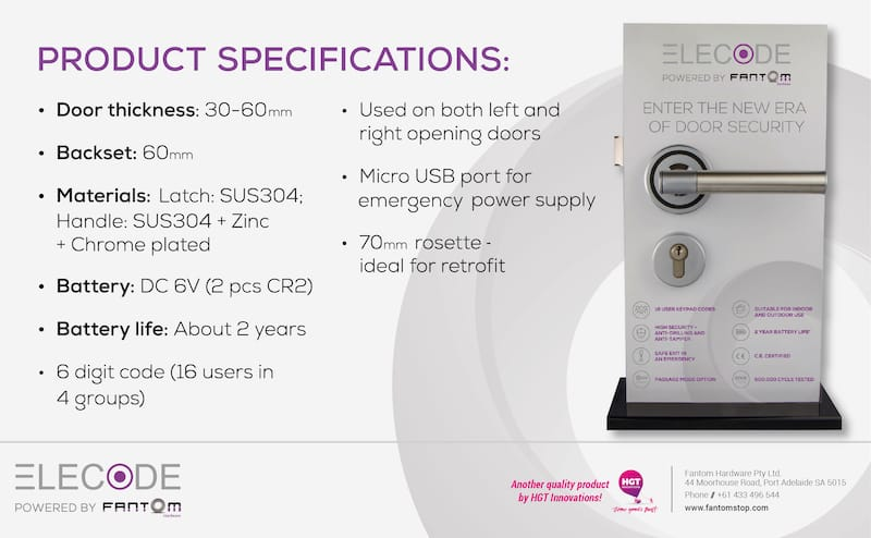 Elecode Specifications