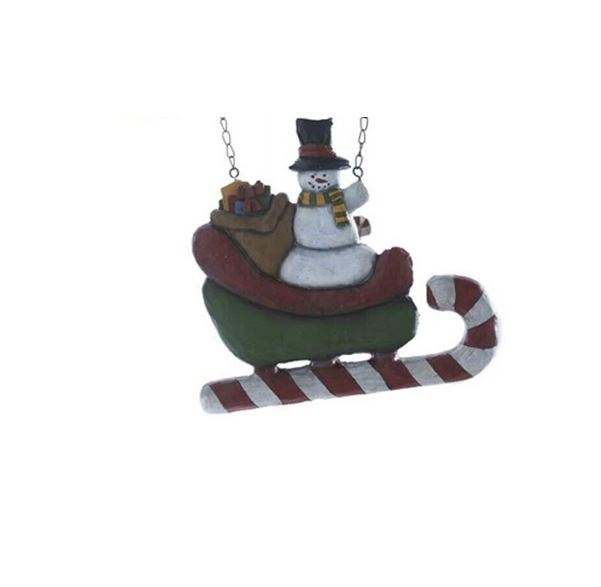 Snowman in Sled Sign