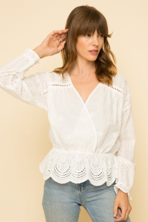 Eyelet Detail White V-Neck Blouse