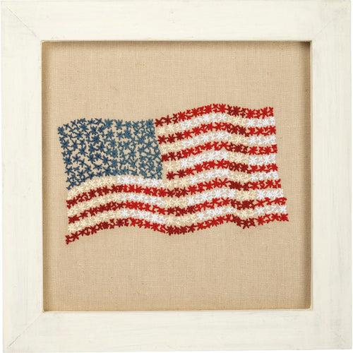 Stitched American Flag Box Sign