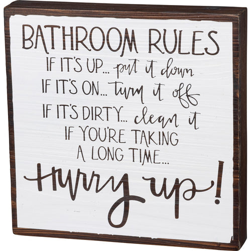 Bathroom Rules Box Sign