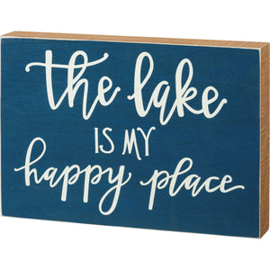 The Lake Is My Happy Place Box Sign