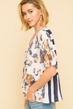 Load image into Gallery viewer, Mixed Media Ruffle Sleeve Printed Stripe Top