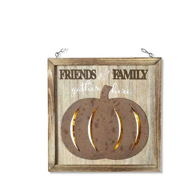 Family and Friends LED Pumpkin Sign