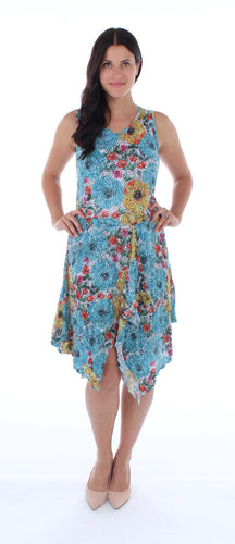 Sleeveless Floral Crinkle Dress
