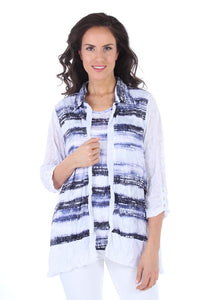 Open Front Horizontal Stripe Crinkle Cardigan & Tank Set