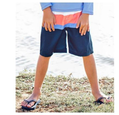Coral & Blue Swim Trunks