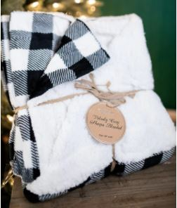 Velvety Cozy Black Plaid Blanket