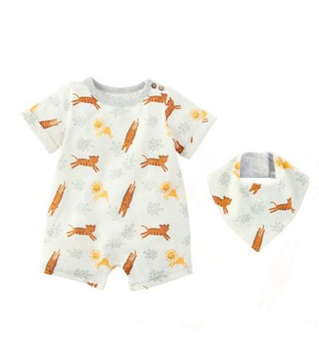 Safari Animal Shortall & Bib Set