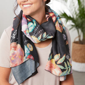 LS Scarf Vest- Floral on Black
