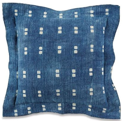 Indigo Block Print Dhurrie Pillow