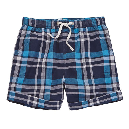 Blue Plaid Cuffed Shorts