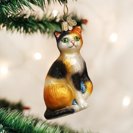 Old World Christmas- Calico Cat Ornament