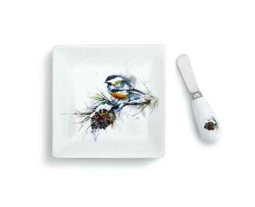Chickadee and Pinecone Plate and Spreader Set