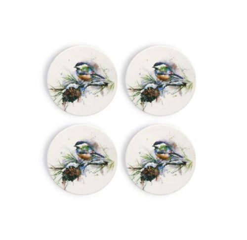 Chickadee and Pinecone Coaster Set