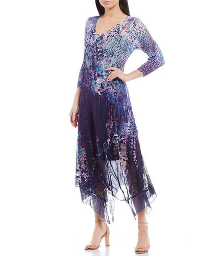 Mixed Print 3/4 Sleeve V-Neck Midi Dress