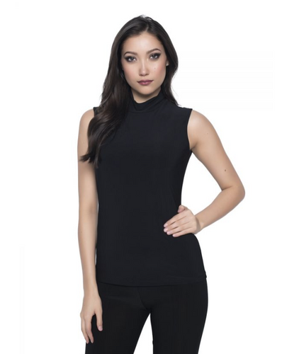 Silky Knit Top with Mock Neck