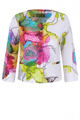 Watercolor Floral Print Jacket