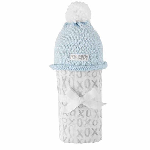 I Love Grandma Swaddle and Hat Set in Blue