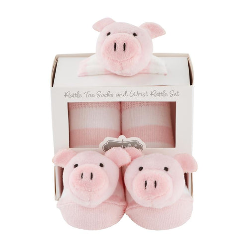 Pig Rattle Wrist and Sock Set
