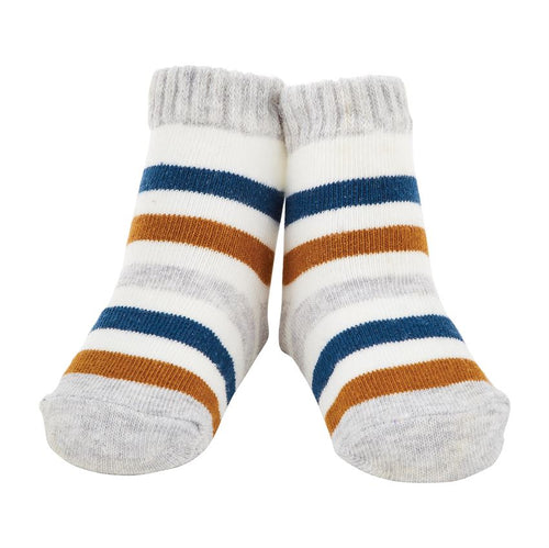 Gray and Blue Stripe Sock