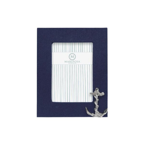 Navy Blue Linen with Anchor Icon 5x7 Frame