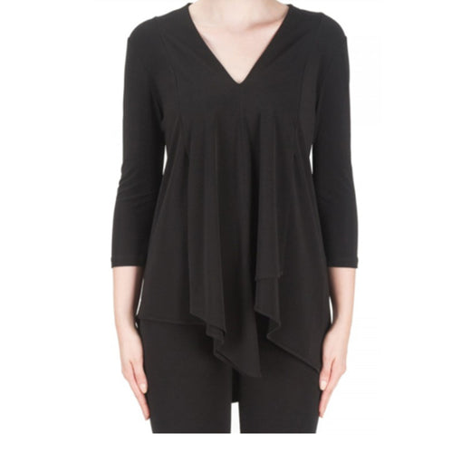 Simple Flowy Black V Neck Tunic