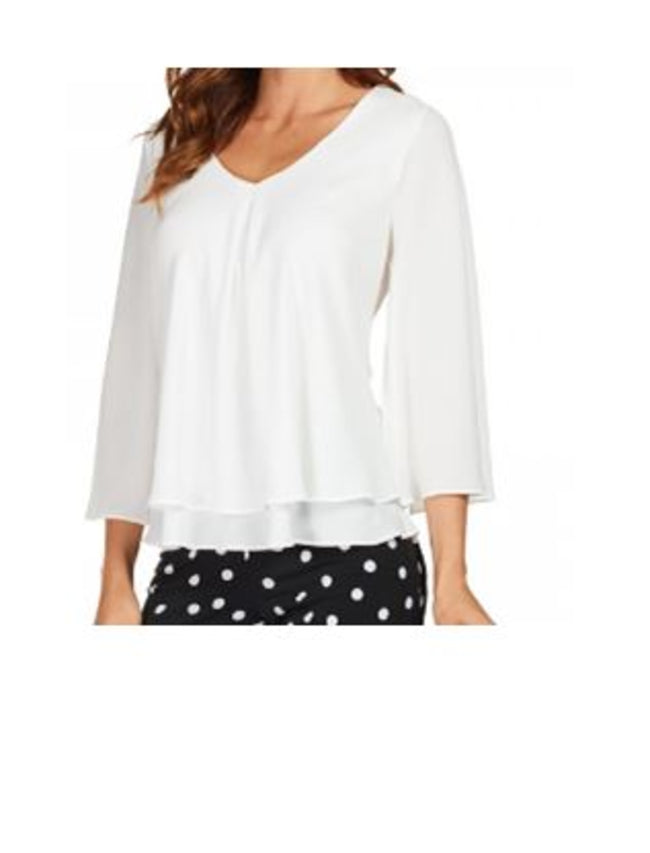 White Layered Flared Sleeve Flowy Blouse