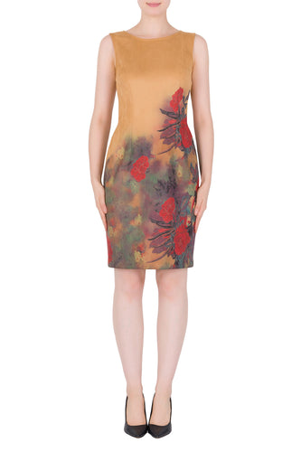 Camel Floral Garden Dress With Scoop Neckline