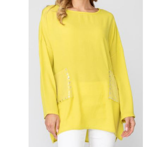 Yellow Casual Tunic With Rhinestone Detail Pockets