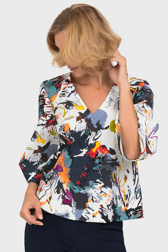 Multicolor Vivid Pattern V Neck Flared Sleeve Blouse
