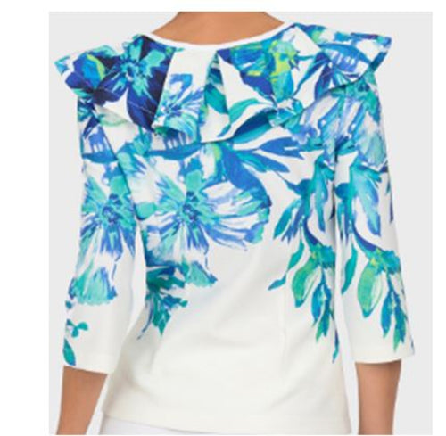 Cool Tone Floral Shoulder Ruffle Garden Jacket