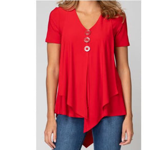 Casual Fit V Neck Button Closure Blouse