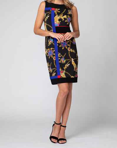 Floral Color Block Elegant Sheath Dress