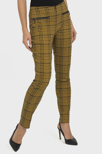 Mustard Plaid Pattern Dress Pant