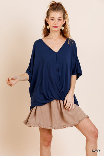 Relaxed Fit Navy Surplice Top