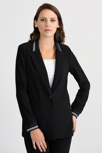 Sporty Striped Collar and Cuffs Blazer