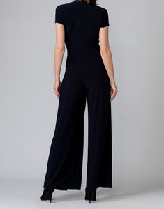 Short Sleeve V Neck Polished Jumpsuit