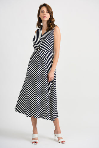 V-Neck Midi Summer Dress With Chevron Stripes