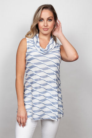Wavy Stripe Cowl Chambray